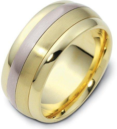(9mm 18 Karat Two-Tone Gold Designer SPINNING Wedding Band Ring - 575)