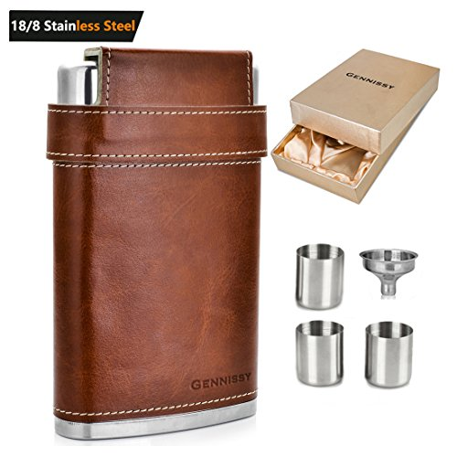 GENNISSY Pocket Hip Flask 8 Oz with Free Funnel - Stainless Steel with Leather Wrapped Cover and 100% Leak Proof - Stainless Steel Classic Hip Flask