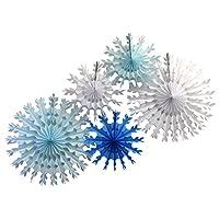 5 decoraciones de copos de nieve de papel tisú de gran variedad (22 y 15 pulgadas, mezcla de invierno blanca y azul)