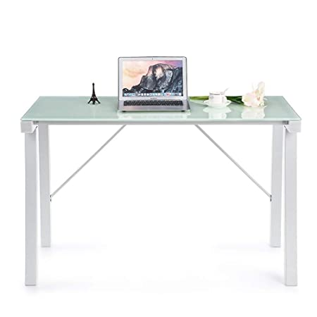 Whyyudan Mesa de Ordenador Mesa de Cristal Corner Desk PC ...