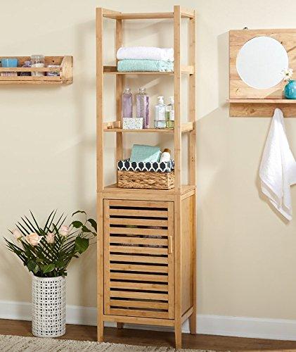 Linen Tower 4 Open Shelves and One Adjustable Shelf Behind Door Made of Wood in Natural Color Bathroom Cabinet Furniture