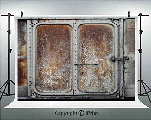 Industrial Decor Photography Backdrops Vintage Railway Container Door Metal Old Locomotive Transportation Iron Power Design,Birthday Party Background Customized Microfiber Photo Studio Props,10x6.5ft, ()