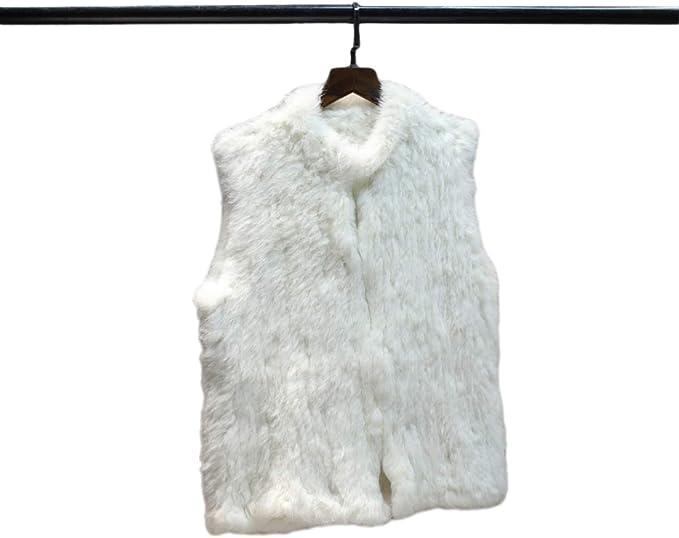 KAISHIN Chalecos de piel real de tejido denso a la moda para mujer Chalecos de piel de conejo tejidos casuales para mujer