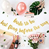 ArtDecor Bridal Shower Decorations Kit | Bachelorette Party Decor | 15 Balloons, Gold Glitter Banner, 30'' Ring & Champagne Foil Balloon, Sash, Veil, Stickers | Bride to be, Last Fling Before The Ring