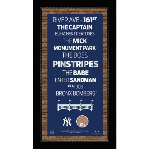 MLB New York Yankees Subway Sign Wall Art with Authentic Dirt from Yankee Stadium, 9.5x19-Inch