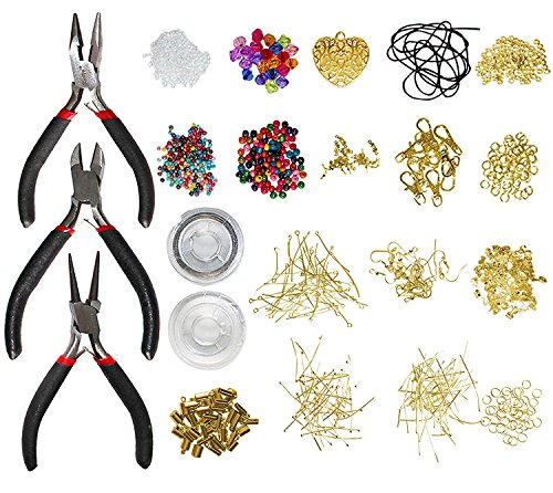 1000pcs Deluxe Gold Plated Jewellery Making Kit by Kurtzy - Includes Jump Rings, Lobster Clasps, Waxed Cord & Heart Pendant - Great for Making Friendship Bracelets, Necklaces, Earrings and (Fancy Sterling Silver Hook Clasp)