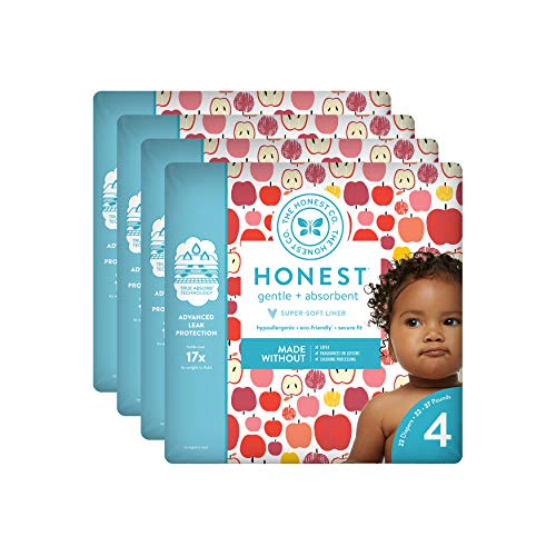 The Honest Company Baby Diapers With TrueAbsorb Technology, Them Apples, Size 4, 92 Count