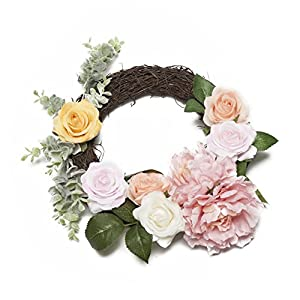 LTWHOME WHROP 13 Inch Artificial Spring Summer Wreath with Roses, Peonies and Leaves for Front Door, Wall, Mantelpiece, Window Decoration