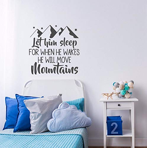 Pbldb Nursery Wall Decal Sayings Baby Boy Room Decor PVC Wall Art Sticker for Kids Rooms Home Decoration Interior Bedroom Mural 58X57Cm