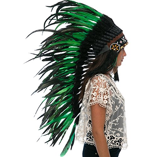 Long Feather Headdress- Native American Indian Inspired- Handmade by Artisan Halloween Costume for Men Women with Real Feathers - Green-Black (Indian Chief Costume Women)