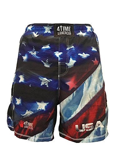 4-Time All American Sublimated Shorts-UFC, MMA, BJJ, Muay Thai, WOD, NOGI, Wrestling, Kickboxing, Boxing Shorts Youth and Men's sizes (M, USA)