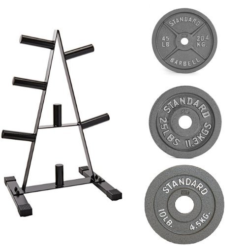 160lb CAP Barbell Olympic 2-Inch Weight Plates with Rack Bundle