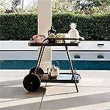 Novogratz 88191CHC1E Poolside Barbie Outdoor Bar Cart, Charcoal Gray
