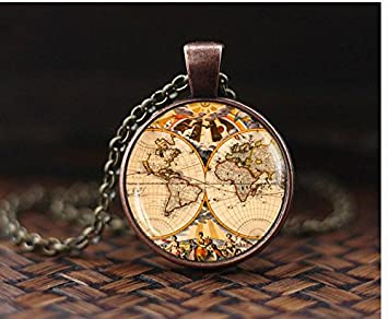 Vintage map pendant vintage world map necklace vintage globe earth vintage map pendant vintage world map necklace vintage globe earth pendant map jewelry freerunsca Gallery