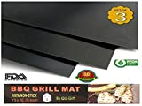 QU-Gift Set Of 3 Heavy Duty Non-Stick Grilling Mats - 15.75x13 Inch - Heat Resistant and Dishwasher Safe Use on Gas Charcoal Electric BBQ Grills and Smokers