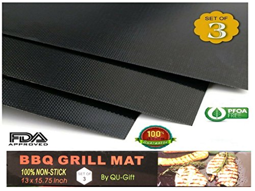 Moments Rub (BBQ Mat Oven Liners - Set of 3 - Heavy Duty Non-Stick BBQ Grilling Mats- 15.75 x 13 Inch - Heat Resistant and Dishwasher Safe Use on Gas Charcoal Electric BBQ Grills and Smokers)