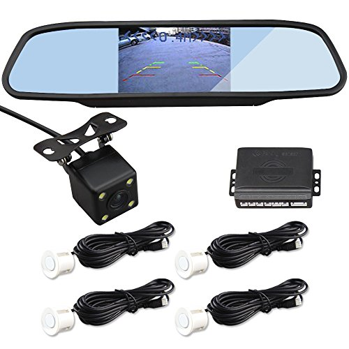 CAR ROVER CCD Night Vision Waterproof Camera With 4.3 Inch LCD Mirror Monitor + 4 White Sensors Parking Sensor Kit