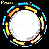 Pivalo High Intensity Projector Lamp LED headlight Projector Lamp with High Beam Low Beam and Flasher function Stylish Dual Angel's Eye Ring COB LED Lens Projector For All Bikes And Cars - YELLOW and BLUE Angel Eyes and RED DEVIL EYE