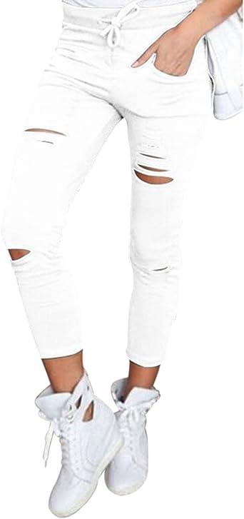 Pantalones Mujer Agujeros Flacos Rasgados Chandal Con Las Rodillas Moda Amazon Es Ropa Y Accesorios