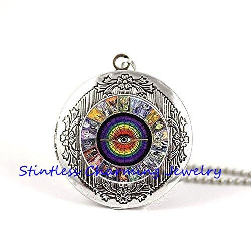 Tarot Cards pendant, Tarot Card Locket Necklace, Alchemy Jewelry, Wiccan Jewelry, Tarot Locket Necklace Jewelry, Mystic Tarot Locket Necklace - New Bronze Alchemy