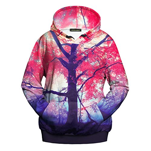 [Threelove Unisex 3D Watercolor Paint Print Long Sleeve Hooded Sweatshirt Casual Pullover Hoodies With Drawstring Pocket Red XL] (Women's Sulley Hoodie)