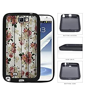 Vintage Pink Roses With Grunge Wood Surface Detail Rubber Silicone TPU Cell Phone Case Samsung Galaxy Note 2 II N7100