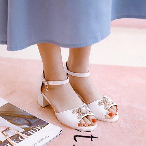Carolbar Women's Solid Color Rhinestones Mid Heel Peep Toe Sandals White mlxDGPeAT