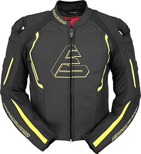 Fieldsheer Monaco Mens Leather Street Racing Motorcycle Jacket 48 Black/Hi-Viz