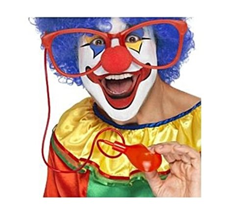 [Jumbo Giant Clown Glasses Water Squirt Squirting Red Costume Accessory Gag Joke] (Clown Glasses)