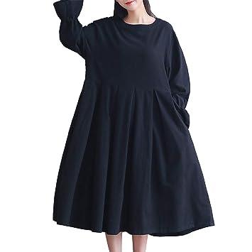 b44c2cd265 Yahuyaka Vestido de Lino y algodón con Falda Plisada con Volantes en Las  Mangas de Mujer (Size   L)  Amazon.es  Hogar