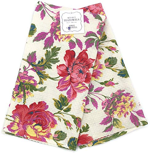 (April Cornell Greta's Garden Ecru Floral Waffle Kitchen Tea Towel)