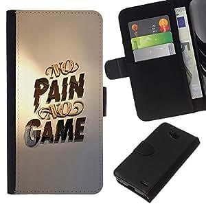 All Phone Most Case / Oferta Especial Cáscara Funda de cuero Monedero Cubierta de proteccion Caso / Wallet Case for LG OPTIMUS L90 // No Pain No Game Gold Pc Gaming