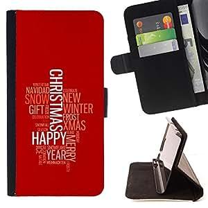 BullDog Case - FOR/HTC One M8 / - / MERRY HAPPY CHRISTMAS /- Monedero de cuero de la PU Llevar cubierta de la caja con el ID Credit Card Slots Flip funda de cuer