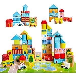 Onshine 62 Pièces Jeux Puzzle en Bois, Blocs de Construction, Jouet Empilable pour Bébé Enfants, Cadeau Éducatif