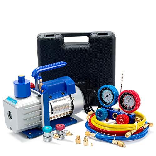 Orion Motor Tech 4.8CFM Vacuum Pump & Manifold Gauge Set | A/C HVAC Refrigeration Kit | Evacuation & Recharging | Diagnostic R134a R22 R410a