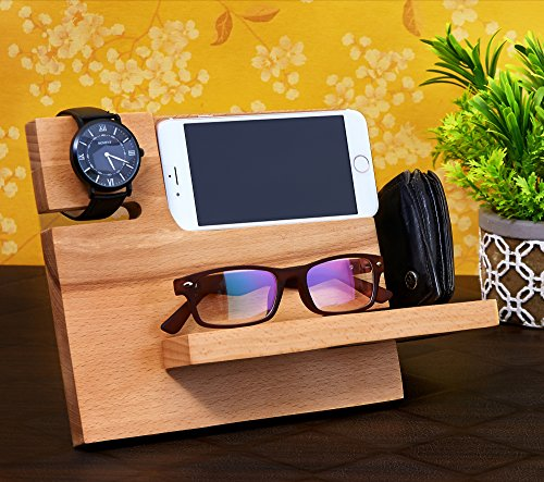 Wooden Mobile Phone Docking Station, Desk organizer For Smartphone, Watch, Wallet, Shades, Keys, Coins, Handmade Men's Christmas Gift, for Him, for Husband, Dad A Perfect Gift for Him or Her, Husband or Wife , Girlfriend or Boyfriend, Mom or Dad and Grandmother or Granddad