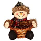 Candy Basket,Fashion Cute Christmas Bamboo Vine Cookie Holder Decorations for Festival Holiday Party Children Kids Gift Snowman