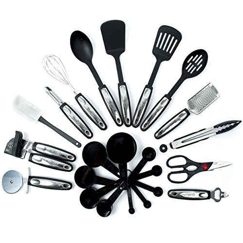 Qualikitchen-Premium-Cooking-kitchen-Utensil-Set-23-Pieces-of-Tools-Made-of-Lightweight-Stainless-Steel-and-Strong-Black-Nylon-plus-Free-Ebook