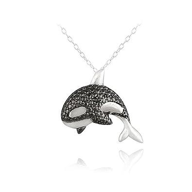 Sterling silver black diamond accent killer whale necklace amazon sterling silver black diamond accent killer whale necklace aloadofball Choice Image