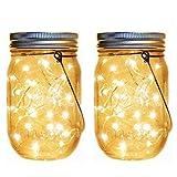 Solar Mason Jar Lantern Lights,2 Pack 30 Led String
