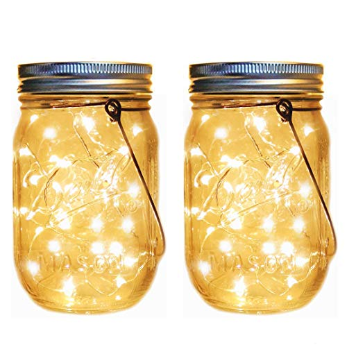 Firefly Lantern - Solar Mason Jar Lantern Lights,2 Pack 30 Led String Fairy Firefly Jar Hanging Lights(Mason Jar/Hanger Included),Mason Jar Lights Kit for Patio Garden Lanterns Wedding Table Decor