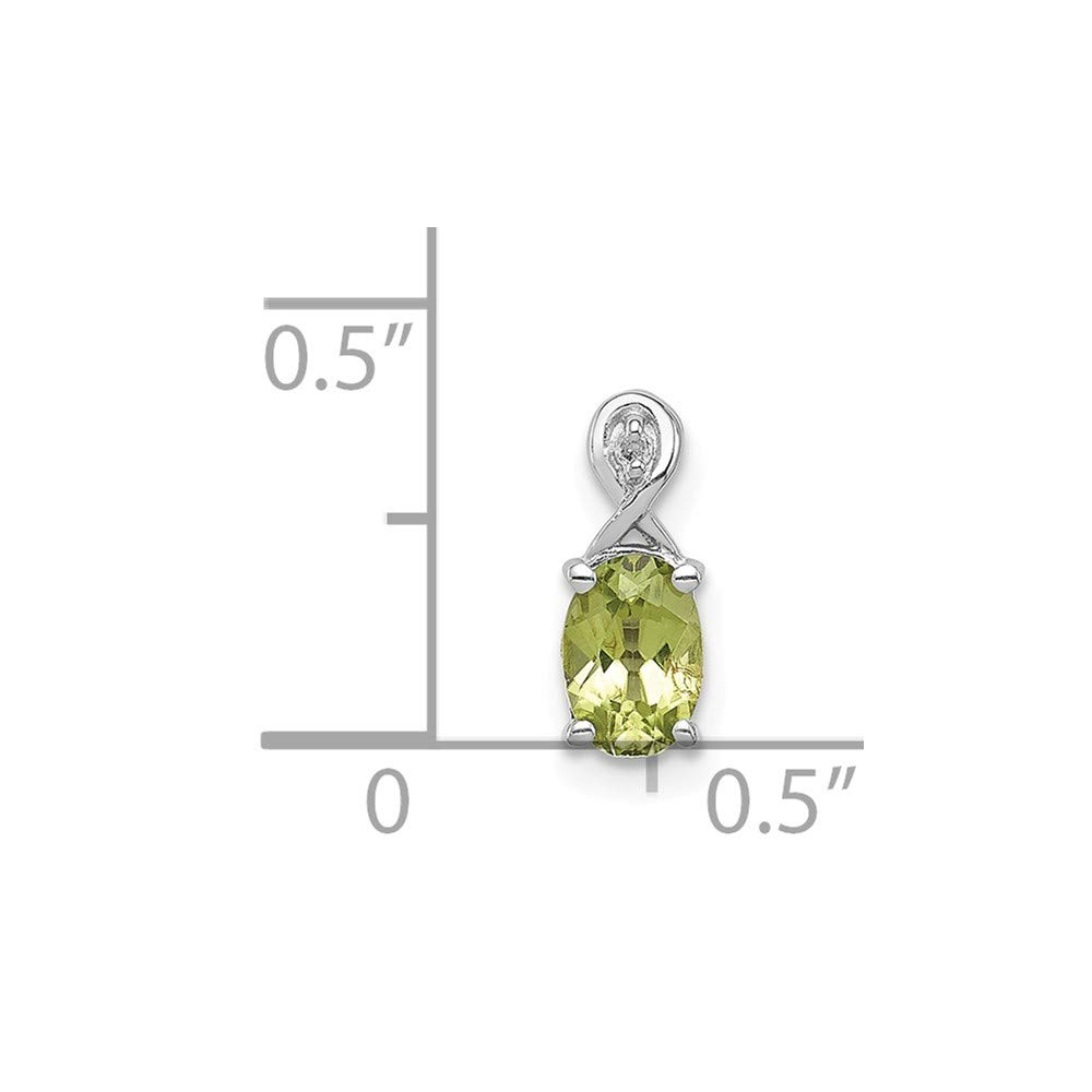 Sterling Silver Diamond Peridot Oval Pendant Solid 5 10 Pendants /& Charms Jewelry