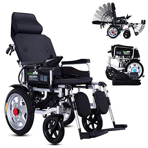 OJBK Folding Electric Wheelchair, Fully Lying Elderly Automatic Wheelchair Aluminum Alloy Four-Wheeled Scooter Lithium Battery (12A)