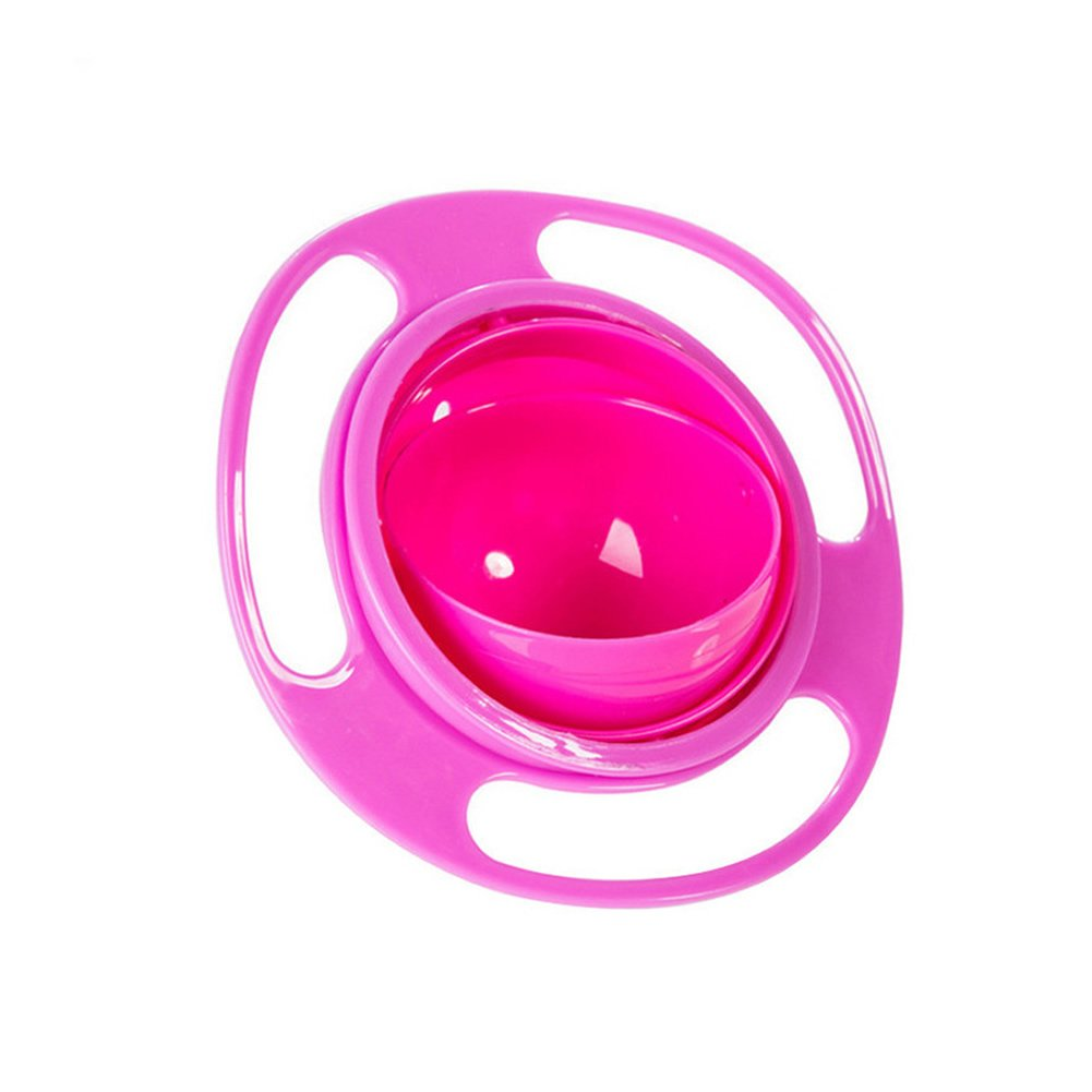 Generic Creative Baby Feeding Bowl Toy 360 Rotate Funny UFO Gift Non Spill Universal Gyro Bowl Dish Pink