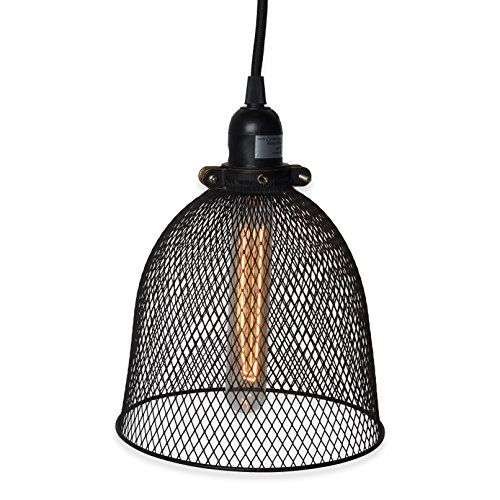 Cheap Rustic State Industrial Retro Style Mesh Wire Cage Pendant Ceiling Lamp by Rustic State with 30-Watt Dimmable Tube Bulb and 15 Feet Toggle Switch Fabric Cord Black