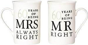Haysoms Ivory 60th Anniversary Mr Right & Mrs Always Right Mug Gift Set