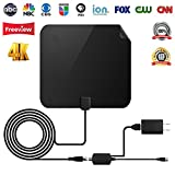 【2018 UPGRADED】 TV Antenna - Digital Amplified HDTV Antenna 50 Mile Range 4K Freeview Television Local Channels w/Detachable Signal Amplifier and 13ft Longer Coax Cable