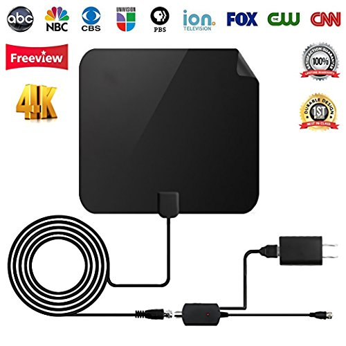 ?2018 Upgraded? TV Antenna - Digital Amplified HDTV Antenna 50 Mile Range 4K Freeview Television Local Channels w/Detachable Signal Amplifier and 13ft Longer Coax Cable