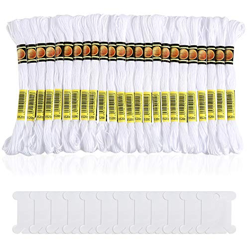 Pllieay 24 Skeins White Embroidery Cross Stitch Threads Cotton Embroidery Floss Friendship Bracelets Floss with 12 Pieces Floss Bobbins for Knitting, Embroidery Stitching and Cross Stitch Project
