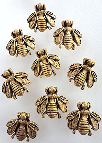 15-antique-gold-bumble-bee-push-pins-electroplate-finish-t-20ag